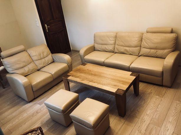 Zestaw wypoczynkowy, meble skórzane, sofa z funkcja spania, sofa,2xpuf