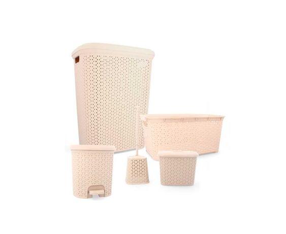 Zestaw łazienkowy Rattan kremowy 5 elementów szczotka wc kosz pojemnik