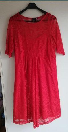 Sukienka ciążowa czerwona H&M koronka