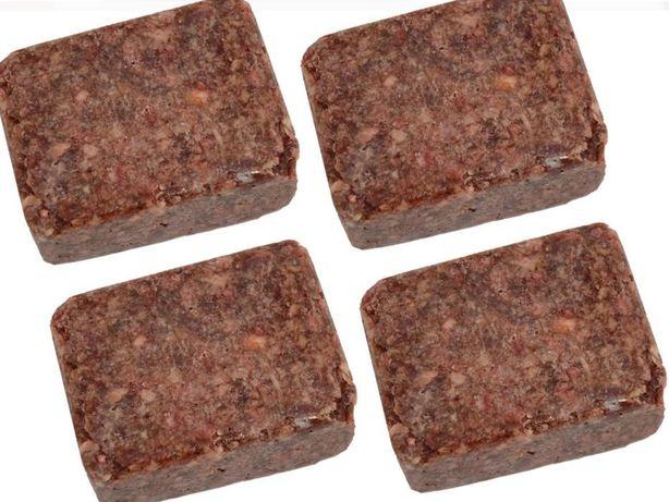 Mięso dla psa wołowo-indycze z kością kostka 250g 27kg kurier 0zł