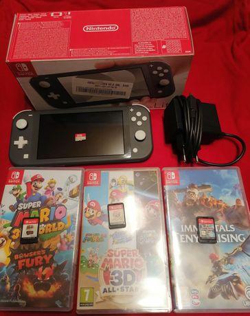 Nintendo switch lite + szybka karta pamięci 128GB + 3 gry