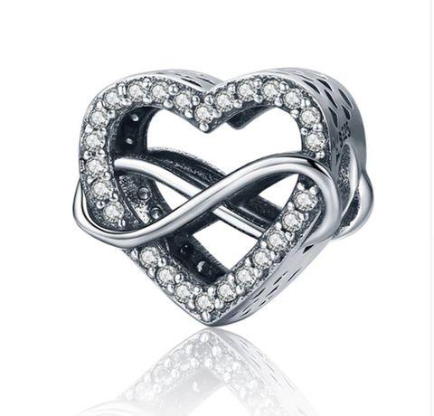 Charms PANDORA srebro 925 nieskończona miłość serce cyrkonie