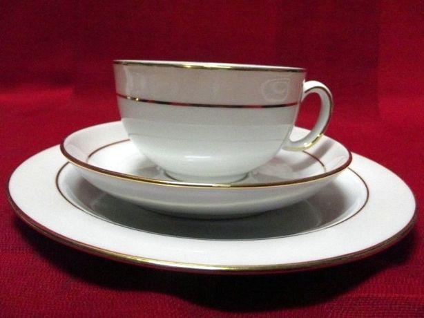 Zestaw śniadaniowy Eschenbach porcelana Bavaria delikatny roz zloto