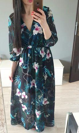 Maxi szmaragdowa długa sukienka w kwiaty s m