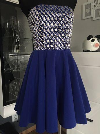 Chabrowa kobaltowa złota rozkloszowana sukienka gorsetowa wesele