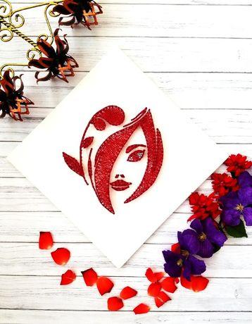 Картина Стринг Арт, Декор в Салон красоты, Девушка в красном, Нитки