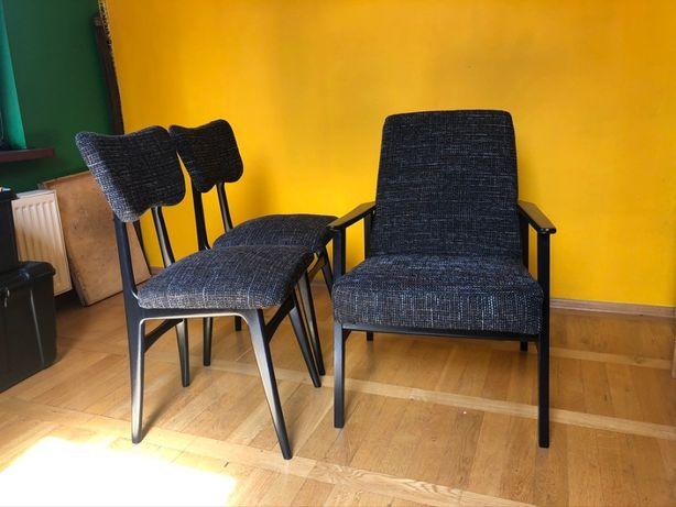 fotel i dwa krzesła z lat 60-70