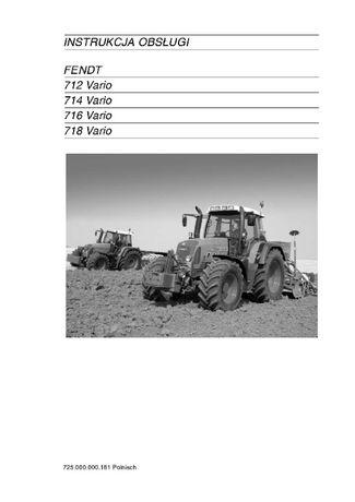 Instrukcja obsługi ciągniki Fendt 712, 714,716-718-Vario jz. polski