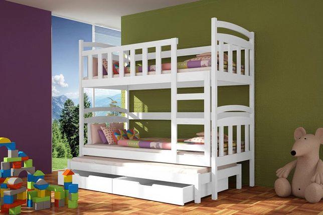 Drewniane łóżko 3-osobowe DAMIAN w super cenie. MATERACE GRATIS