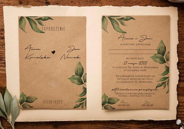 Zaproszenia ślubne, eko, rustykalne, PROJEKT GRATIS