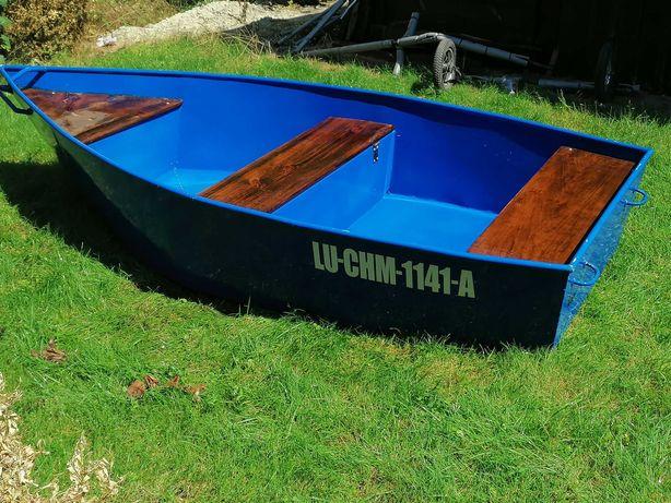 Łódka wędkarska rekreacyjna aluminiowa  2.60x120 + wózek transportowy