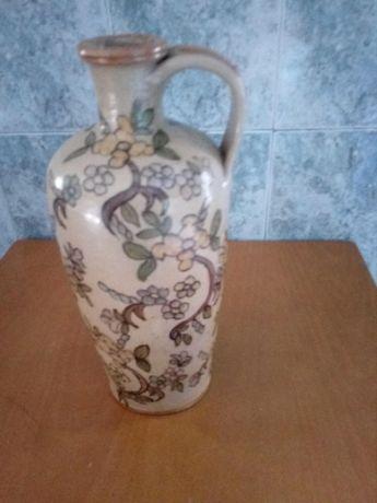 Jarrão antigo de loiça pintado à mão e vidrado