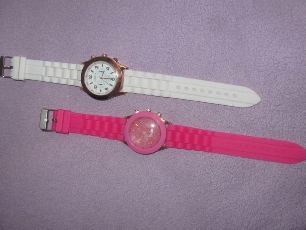 Zegarek GENEVA Na Rękę Damski Pasek Silikonowy Biały Różowy Nowy