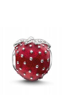 Charms do bransoletek Pandora czerwona truskawka, srebro próby S925