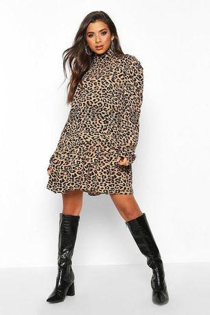 Свободное платье миди в леопардовый принт