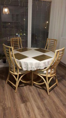 Stół okrągły bambusowy + krzesła