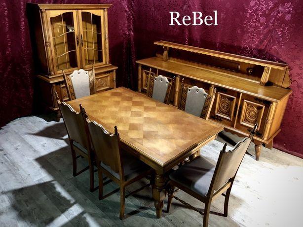 Masywna JADALNIA Komoda Witryna Stół + 6 krzeseł!