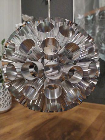 Lampa wisząca metalowa srebrna okrągła ok. 30cm