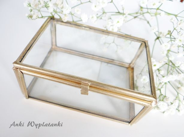 szklana szkatułka pudełko na obrączki