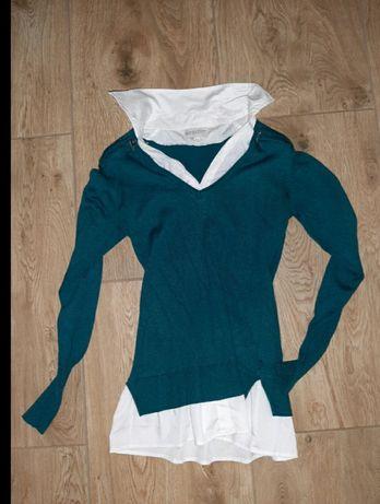 Śliczny sweterek z koszulą