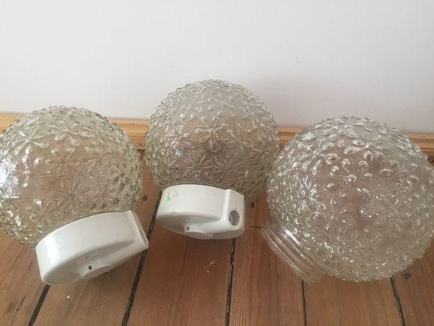 6 sztuk różnych , szklanych kloszy , Loft , 3 + 2 + 1 ,  PRL