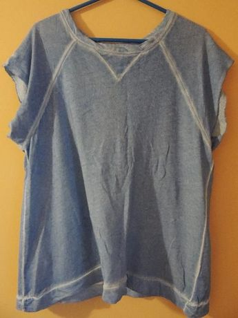 Błękitna bluzka Zara z wycięciem na plecach r.M