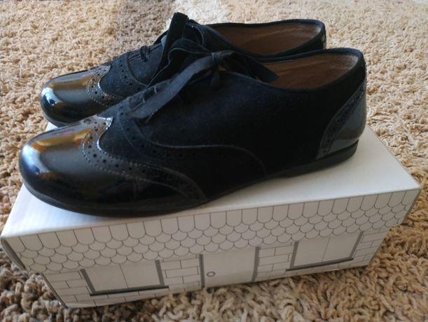 Gino Rossi 33 skórzane eleganckie czarne pantofelki dla dziewczynki