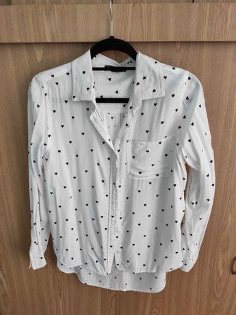 biała koszula w serduszka/serca r. S/M dla biuściastej, piękna,wygodna