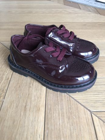 Bordowe buty derby Zara Baby Girl r. 25