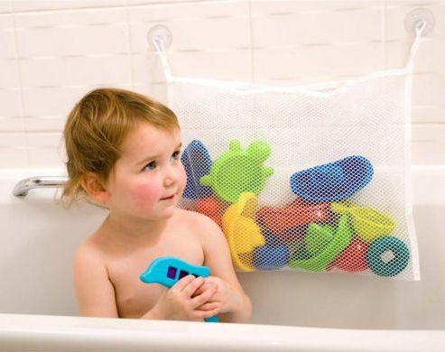 Сетка в ванную для хранения игрушек на присоске детская 45х35 см
