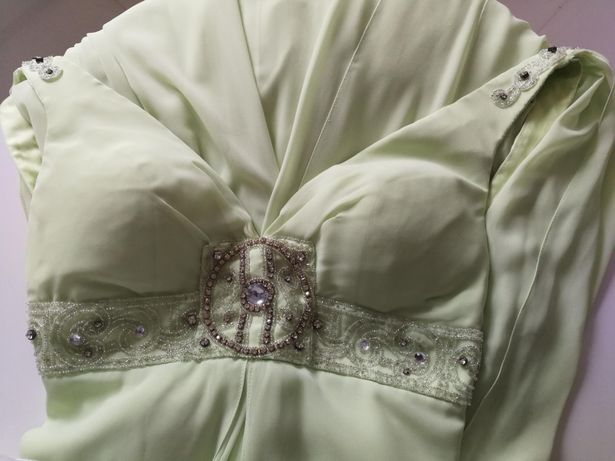 Sukienka długa S okazja studniówka wesele sylwester oliwkowa