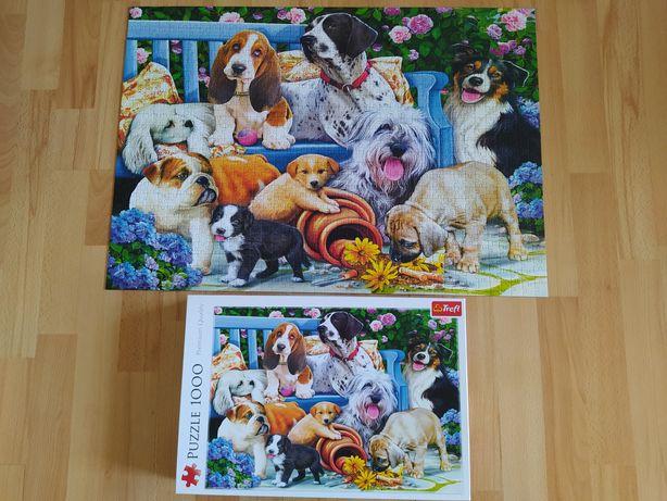 Puzzle Trefl 1000 elementów Psy w ogrodzie