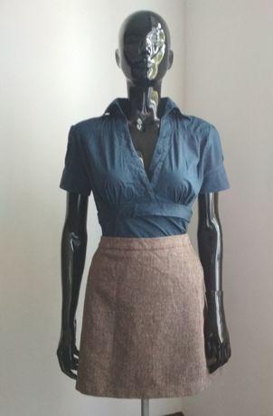 Spódnica mini jodełka brązowa H&M 42