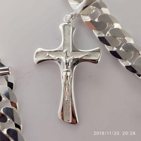 Krzyż duży męski srebro 925, 15-17 g. z dużą zawieszką 7/4 cm.PROMOCJA