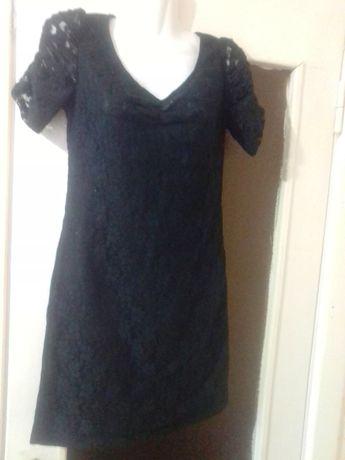 Гипюровое чёрное платье мини короткое 42-44