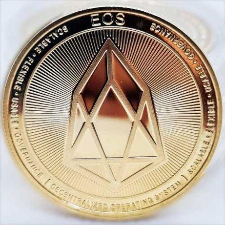 Сувенирные монеты EOS в золотом и серебряном цвете (биткоин, лайткоин)