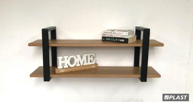 półka metalowa, drewniana, loftowa, skandynawska