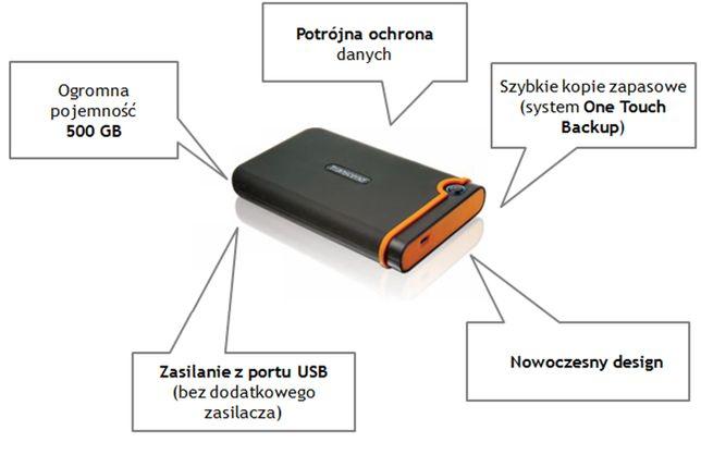 Pancerny zewnętrzny DYSK Transcend StoreJet 500 GB OneTouch Backup
