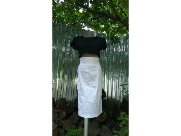 белая спідниця хлопковая юбка миди карманы высокая талия посадк