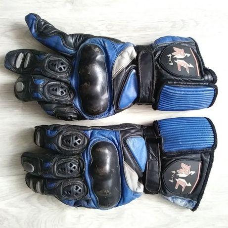 Rękawice skórzane RC niebiesko czarne.