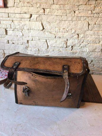 Stara skorzana torba narzedziowa lata 50.