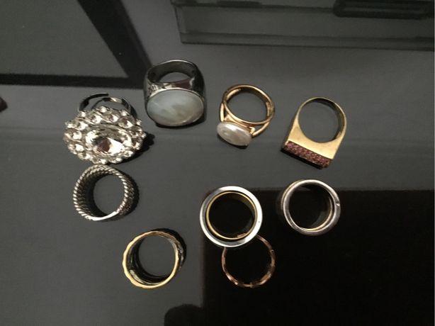 Lote de aneis aço madreperola, designers strass, portes incluidos