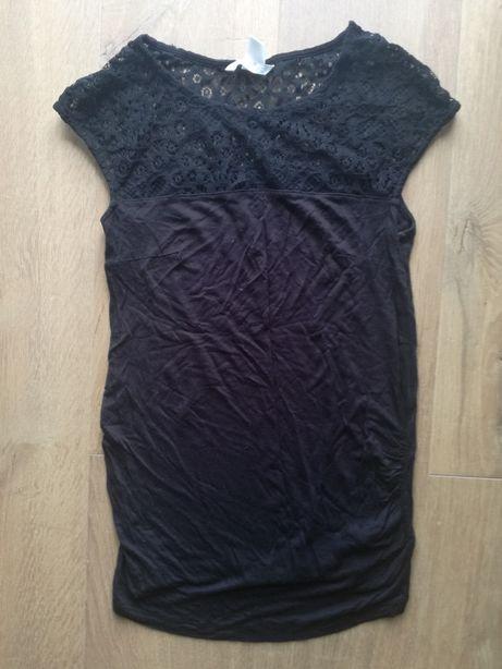Bluzka ciążowa czarna koronkowa koronką. H&M mama. R. S/36.