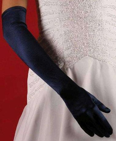 Rękawiczki atłasowe wieczorowe granatowe