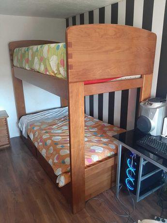 Beliche com 2 camas c/ 2 gavetas + 2 colchões