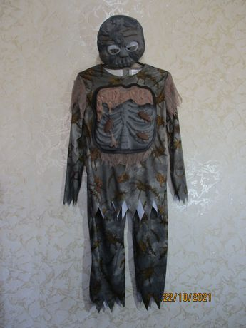 Карнавальный костюм с маской на хэллоуин halloween/леший зомби/9-10 ле