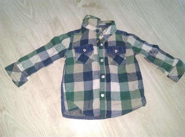 Koszula w kratkę firmy F&F rozmiar 74 stan dobry 6-9 msc