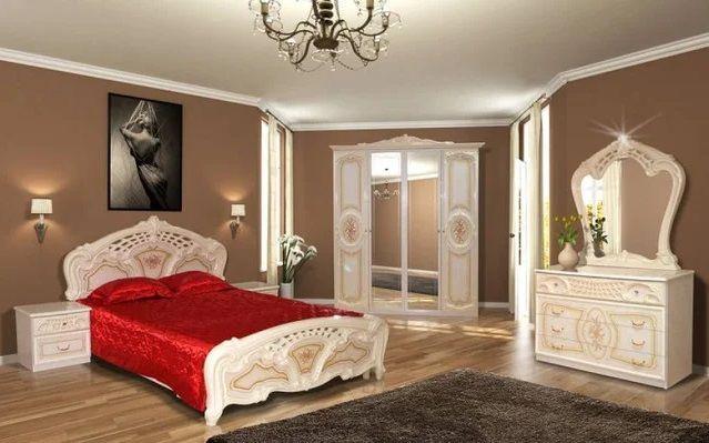 """Кровать в спальню """"Кармен новая пино беж"""", художественная печать."""