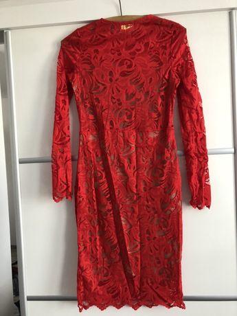 Czerwona sukienka koronka  H&M rozmiar S