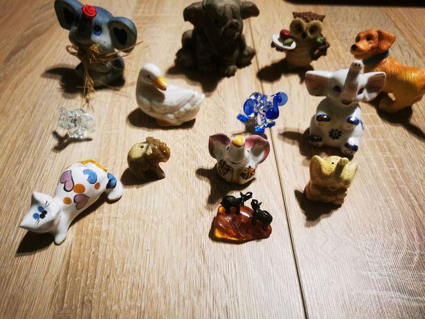 Figurki słoniki, ceramika, glina, szkło